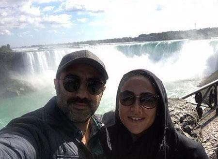 محسن تنابنده و همسرش کنار آبشار نیاگارا +عکس