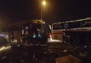 صحنه هولناک ترمز بریدن اتوبوس در جاده / فیلم
