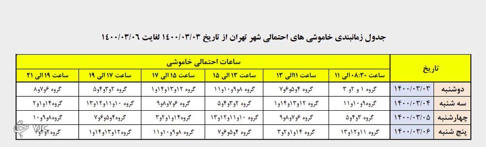 زمانبندی قطع برق در مناطق مختلف تهران از ساعت ۱۷ تا ۱۹