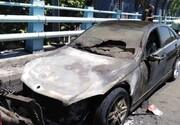 تصاویری از آتش گرفتن بنز روی پل ارتشتهران