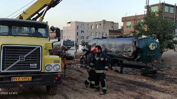تانکر سوخت در سنندج منفجر شد / عکس