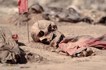 تصاویری دلخراش از بیرون کشیدن قربانیان داعش از گور دسته جمعی در نینوا
