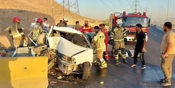 تصادف عجیب پراید در تهران / ۷ نفر مصدوم شدند! + عکس