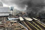 تصاویری از آتشسوزی و انفجارهای پیاپی در ایستگاه قطاری در لندن / فیلم