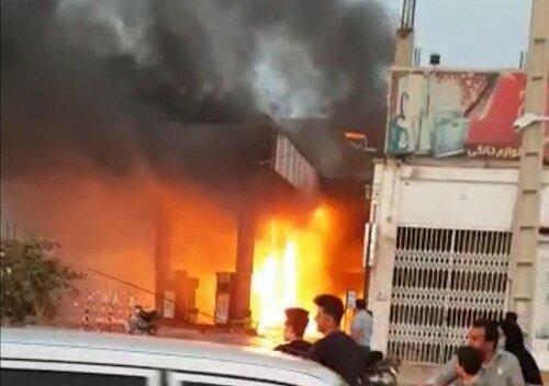 یک پمپ بنزین در رامهرمز آتش گرفت