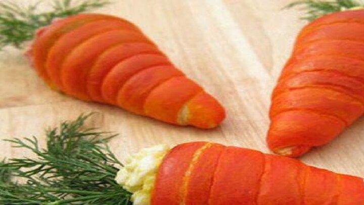 هویج شکم پر با سالاد الویه + طرز پخت
