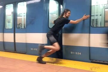 ویدیویی جالب از توقف کامل قطار توسط قویترین مرد جهان / فیلم
