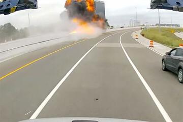 لحظه هولناک انفجار کامیون حامل سوخت پس از برخورد با گارد ریل اتوبان / فیلم