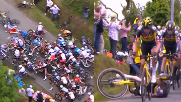 برخورد شدید دوچرخه سواران | پلیس فرانسه به دنبال دستگیری زنی که مسابقات توردوفرانس را به هم ریخت / فیلم