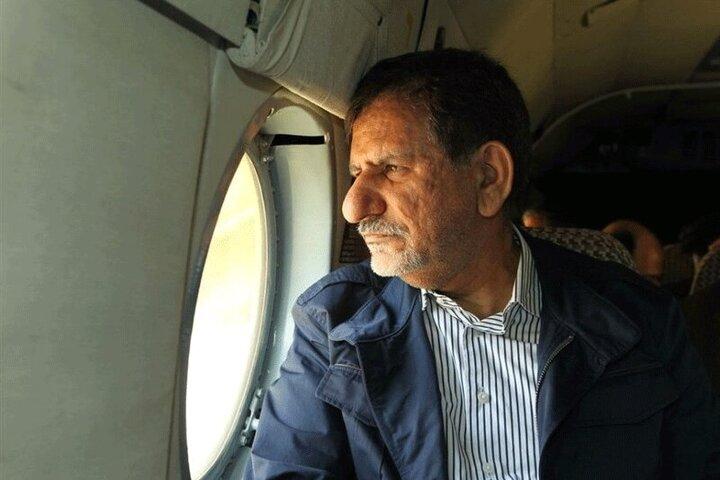 بازدید هوایی جهانگیری از مناطق دچار بحران آب در خوزستان / فیلم