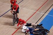لحظه برخورد دوچرخهسواران دانمارک و انگلیس در مسابقات المپیک ۲۰۲۰ / فیلم