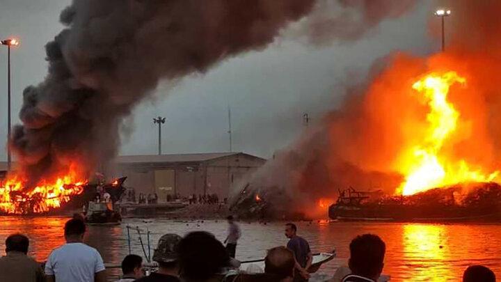 تصاویری وحشتناک از آتش سوزی ۵ شناور ایرانی در خلیج فارس