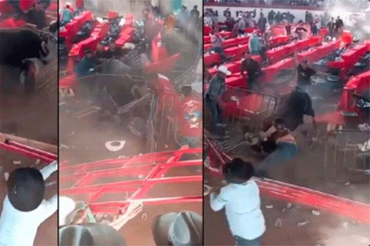 لحظه هولناک حمله گاو وحشی به تماشاچیان در مکزیک / فیلم