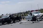 تصادف شدید خودروی پلیس با یک سواری در اتوبان تهران قم / فیلم