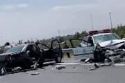 تصادف وحشتناک ماشین پلیس با خودروی سواری در اتوبان تهران قم / فیلم