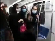 کتککاری در واگن بانوان متروی تهران بر سر ماسک / فیلم
