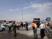 یک اتوبوس در آزادراه تهران - قم آتش گرفت / عکس