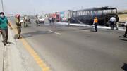 تصاویری دردناک از آتش گرفتن اتوبوس مسافربری در جاده تهران _ قم