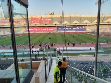 تصاویری از ضدعفونی کردن ورزشگاه آزادی قبل از ایران - کره جنوبی