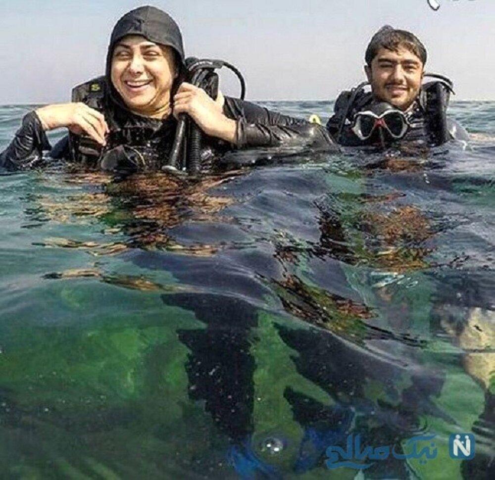 آزاده صمدی در حال غواصی! /عکس