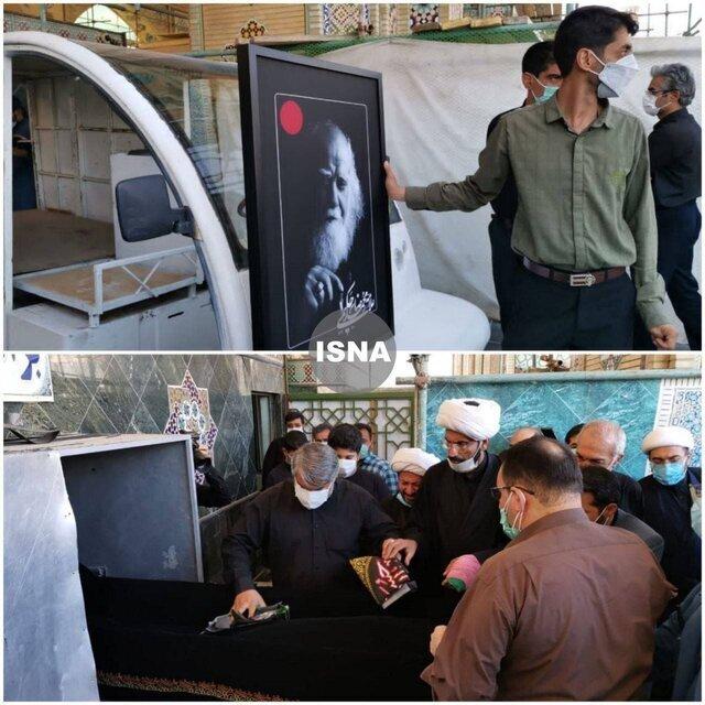 پیکر محمدرضا حکیمی در حرم مطهر رضوی تشییع شد / عکس