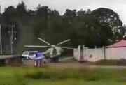 لحظه هولناک سقوط هلیکوپتر ارتش مکزیک در کنار جاده / فیلم