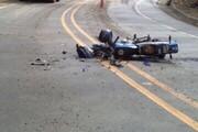 فیلمی دلخراش از لحظه تصادف عجیب موتورسیکلت با موتور پلیس وسط خیابان!