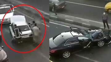 له شدن خودروی بنز پس از تصادف با پراید / فیلم