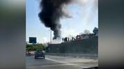 تصاویری از آتش سوزی بزرگ در صادقیه تهران / فیلم