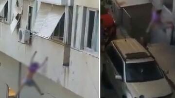 ویدیو هولناک از پرش مرگبار دختر جوان از روی پنجره