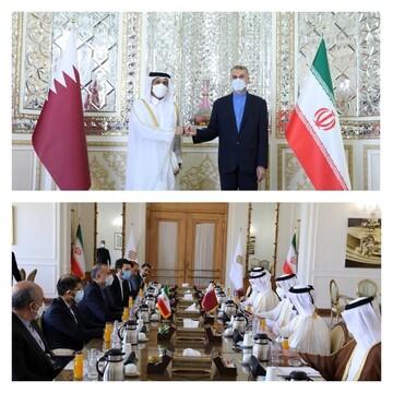 تصویری از دیدار امیرعبداللهیان با وزیر خارجه قطر