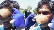 ماسک عجیب و خندهدار مرد اندونزیایی سوژه شد! / فیلم