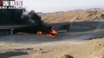 انفجار وحشتناک تانکر گازوییل و سوختن راننده در جاده مشهد / فیلم