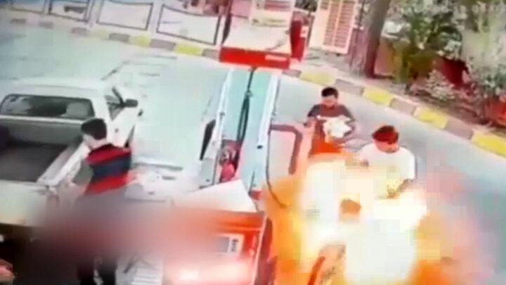 تصاویری تلخ از زنده زنده سوختن جوان ورامینی در پمپ بنزین / فیلم