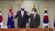 نحوه دست دادن رئیس جمهور استرالیا و کره سوژه شد! / فیلم