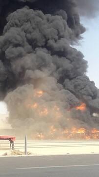 ویدیو هولناک از آتشسوزی مهیب تریلی حامل مواد پتروشیمی در آباده