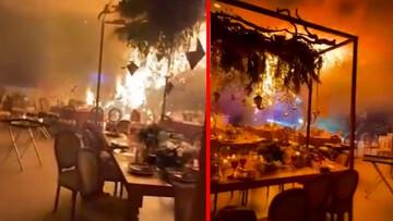 لحظه ریزش سقف تالار عروسی در وسط مراسم به دلیل آتشسوزی / فیلم
