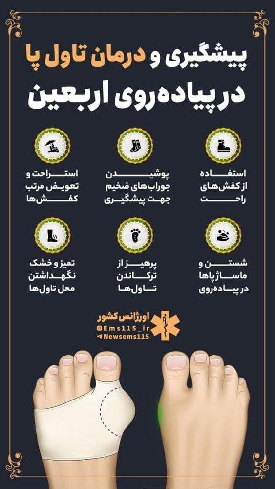 پیشگیری و درمان تاول پا در پیاده روی اربعین