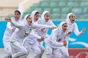 خوشحالی دختران تیم ملی فوتبال ایران با خواندن سرود «جاوید وطن» / فیلم