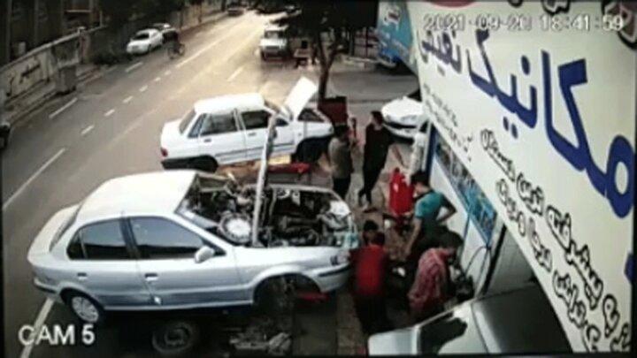 لحظه برخورد وانت با موتور سیکلت در تبریز / فیلم