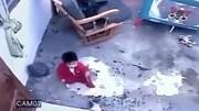 گربه باهوش یک کودک را از مرگ حتمی نجات داد / فیلم
