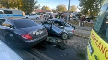 تصادف مرگبار دو خودرو هنگام دور زدن / فیلم