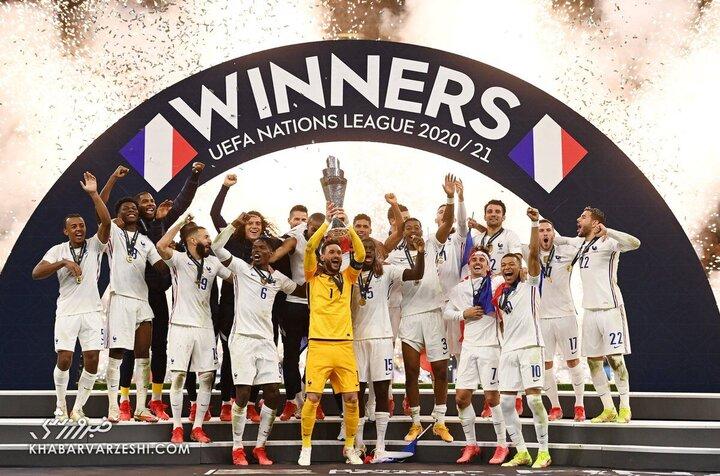 لحظه اهدای جام قهرمانی لیگ ملتهای اروپا به فرانسه / فیلم