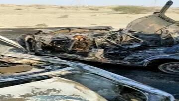 تصاویر دلخراش از جنازه هفت سرنشین خودرو که زنده زنده در آتش سوختند! / فیلم