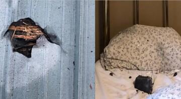 برخورد شهابسنگ به تختخواب یک زن! / عکس