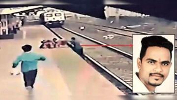 نجات معجزهآسای کودک از زیر قطار توسط مرد شجاع / فیلم