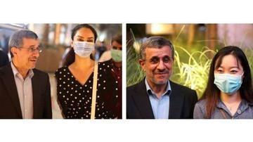 لحظه لمس احمدی نژاد توسط زنان نامحرم در امارات سوژه شد / فیلم
