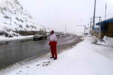 تصاویری زیبا از اولین برف پائیزی در جاده هراز / فیلم