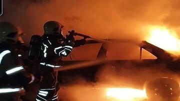 آتش گرفتن خودرو پژو ۴۰۵ در مازندران / فیلم