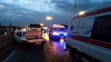 تصادف زنجیرهای ۳۰ خودرو در اتوبان کرج - قزوین!